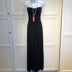 Sky Black Maxi Dress with woven detail Size S